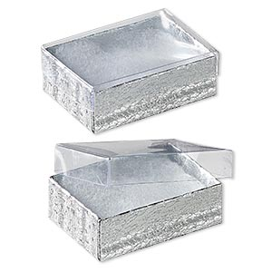 box, plastic and paper, cotton-filled, silver and clear, 3-1/4 x 2-1/4 x 1 inches. sold per pkg of 10.