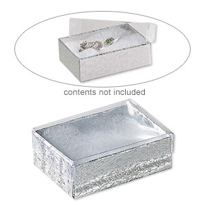 box, plastic and paper, cotton-filled, silver and clear, 3-1/4 x 2-1/4 x 1-inch rectangle. sold per pkg of 10.