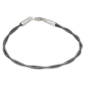 bracelet, 2-strand, anodized sterling silver and rhodium-plated sterling silver, black, 1.2mm diamond-cut twisted round, 7-1/2 inches with lobster claw clasp. sold individually.