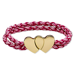 bracelet, 2-strand, imitation leather and gold-finished pewter (zinc-based alloy), pink and dark pink, 7mm wide braided round with 30x17mm double heart, 6-1/2 inches with magnetic clasp. sold individually.