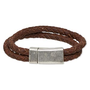 bracelet, 2-strand, leather (dyed) and antique silver-plated pewter (zinc-based alloy), rustic brown, 12mm wide braided, 7 inches with 31x15mm rectangle magnetic clasp. sold individually.