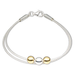 bracelet, 2-strand, sterling silver and vermeil, 1.2mm diamond-cut round with 6mm ball, 7-1/2 inches with lobster claw clasp. sold individually.