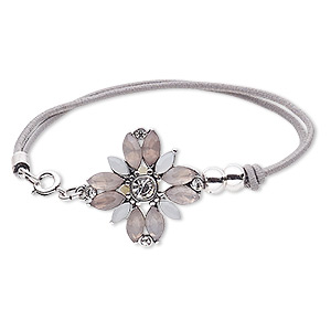 bracelet, 2-strand stretch, acrylic / glass rhinestone / nylon / silver-plated steel / pewter (zinc-based alloy), grey / white / clear, 25x25mm flower, 6-1/2 inches with springring clasp. sold individually.