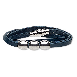 bracelet, 3-strand wrap, leather (dyed) and stainless steel, navy blue, 10mm wide with 10mm barrel, 6-1/2 inches with magnetic clasp. sold individually.