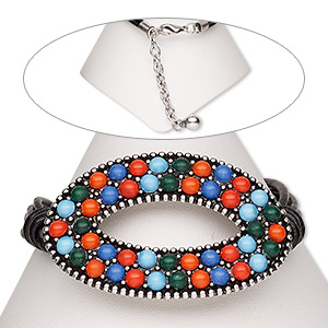 bracelet, 4-strand, leather (dyed) / resin / antiqued silver-finished steel / pewter (zinc-based alloy), multicolored, 53x34mm open oval, 7 inches with 2-inch extender chain and lobster claw clasp. sold individually.