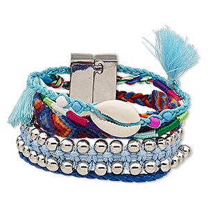 bracelet, 5-strand, cowrie shell (natural) / nylon / polyurethane / silver-coated plastic / silver-finished pewter (zinc-based alloy), blue and multicolored, 37mm wide, 6-1/2 inches with magnetic locking clasp. sold individually.