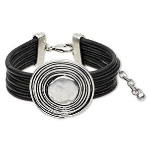 bracelet, 5-strand, leather (dyed) and antique silver-finished pewter (zinc-based alloy), black, 19mm wide with 35mm spiral round, 6-1/2 inches with 3-inch extender chain and lobster claw clasp. sold individually.