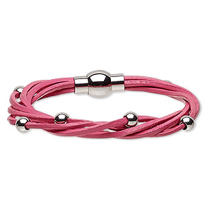bracelet, 5-strand, leather (dyed) and stainless steel, pink, 8mm wide twisted with 5mm round, 6-1/2 inches with magnetic clasp. sold individually.