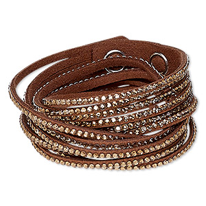 bracelet, 6-strand wrap, acrylic rhinestone / faux suede / imitation rhodium-plated brass, light brown and clear, 19mm wide, adjustable at 6 and 6-1/2 inches with snap closure. sold individually.