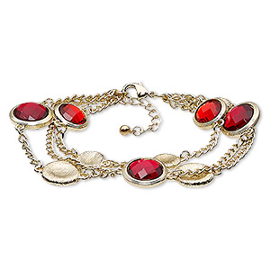 bracelet, acrylic with gold-finished steel and pewter (zinc-based alloy), light red and dark red, 6-1/2 inches with 1-1/2 inch extender chain and lobster claw clasp. sold individually.