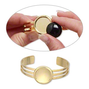 bracelet, almost instant jewelry, cuff, gold-plated brass and pewter (zinc-based alloy), 64x25mm with 20mm round setting, adjustable. sold individually.