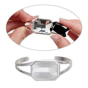 bracelet, almost instant jewelry, cuff, silver-plated brass and pewter (zinc-based alloy), 60x24mm with 27x18.5mm emerald-cut setting, adjustable. sold individually.
