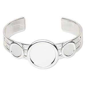 bracelet, almost instant jewelry, cuff, silver-plated brass and pewter (zinc-based alloy), 25mm wide with (2) 10mm and (1) 20mm round settings, adjustable. sold individually.