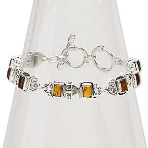 bracelet, amber (reconstituted) and sterling silver, 9x7mm rectangle, 7 inches with toggle clasp. sold individually.