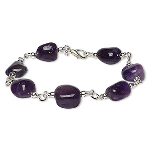 bracelet, amethyst (natural / dyed) with silver-plated brass and steel, small to medium hand-cut nugget, 6 inches with lobster claw clasp. sold individually.