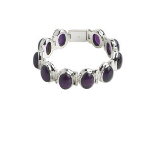 bracelet, amethyst (natural) and sterling silver, medium to dark, 20mm wide with 19x13mm oval, 6-1/2 inches with tab clasp. sold individually.