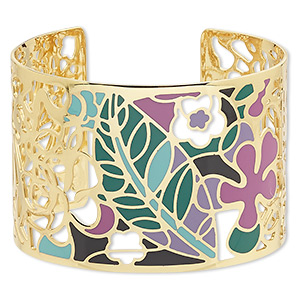 bracelet, avant-garde jewelry collection™, cuff, enamel and gold-plated brass, multicolored, 50mm wide with cutout and floral design, adjustable from 7-1/2 to 8 inches. sold individually.