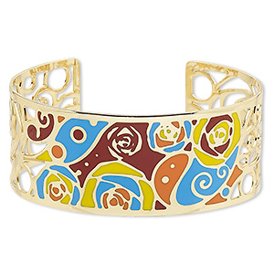 bracelet, avant-garde jewelry collection™, cuff, enamel and gold-plated brass, multicolored, 30mm wide with cutout and rose with swirl design, adjustable from 7-1/2 to 8 inches. sold individually.