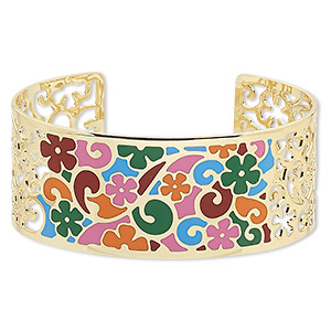 bracelet, avant-garde jewelry collection™, cuff, enamel and gold-plated brass, multicolored, 30mm wide with cutout and flower with swirl design, adjustable from 7-1/2 to 8 inches. sold individually.