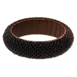 bracelet, bangle, acrylic / glass / silk, brown, 24mm wide with netting design, 2-1/2 inch inside diameter. sold individually.