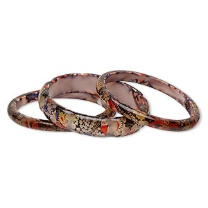 bracelet, bangle, acrylic, multicolored with silver-colored foil, 8mm and 15mm wide with floral design, 8 to 8-1/2 inches. sold per 3-piece set.