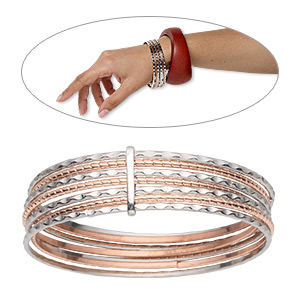 bracelet, bangle, copper- and silver-plated steel, 19mm wide 7 band, 8 inches. sold individually.