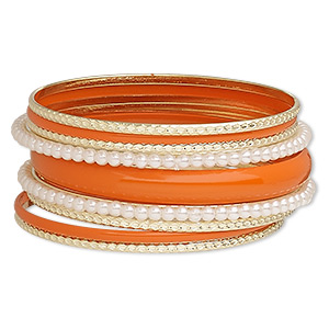 bracelet, bangle, enamel / acrylic / gold-finished steel, white and orange, 3-11mm wide, 8-1/2 inches. sold per 9-piece set.
