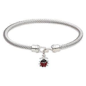 bracelet, bangle, enamel / czech glass rhinestone / silver-plated brass / pewter (zinc-based alloy), red and black, 4mm twisted cable with 13x9mm ladybug, 7-1/2 inches with hook-and-eye clasp. sold individually.