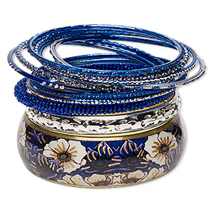 bracelet, bangle, enamel / glass / polyester / silver-plated aluminum / brass / gold-finished steel, royal blue with glitter, 2.5-24mm wide, 8 inches. sold per 11-piece set.