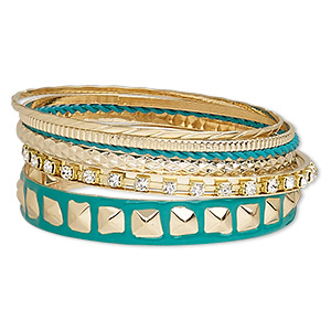 bracelet, bangle, enamel / glass rhinestone / gold-finished steel, teal green and clear, 2-12mm wide, 8 inches. sold per 6-piece set.