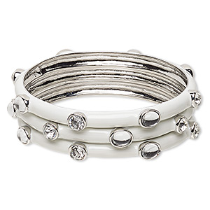 bracelet, bangle, enamel / glass rhinestone / imitation rhodium-finished pewter (zinc-based alloy), white and clear, 7.5mm wide, 8-1/2 inches. sold per pkg of 3.