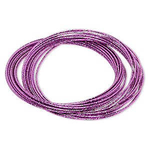 bracelet, bangle, enameled steel, fluorescent purple, (26-30) 1mm wide interlocking textured bands, 8 inches. sold individually.