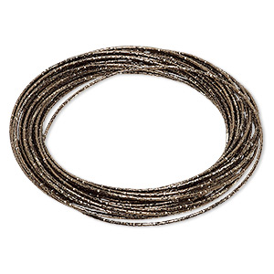 bracelet, bangle, enameled steel, metallic brown, (26-30) 1mm wide interlocking textured bands, 8 inches. sold individually.