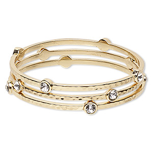 bracelet, bangle, glass rhinestone and gold-finished pewter (zinc-based alloy), clear, 3mm wide with hammered design, 8 inches. sold per pkg of 3.