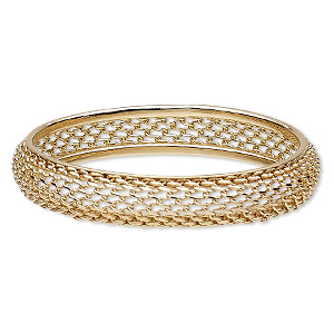 bracelet, bangle, gold-finished brass and steel, 13mm wide with open mesh design, 7-1/2 inches. sold individually.