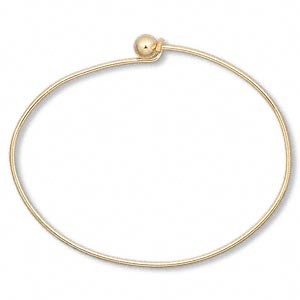 bracelet, bangle, gold-plated brass, 1.5mm wide oval with 5.5mm twist-off bead end, 7 inches. sold per pkg of 10.