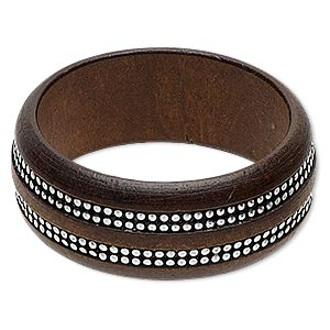 bracelet, bangle, stained wood and silver-coated plastic, dark brown, 30mm wide with round studs, 7-1/2 inches. sold individually.