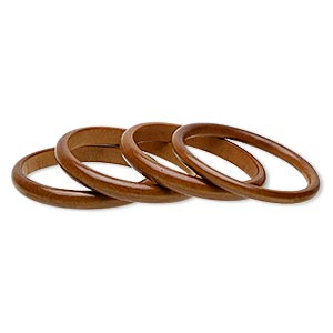bracelet, bangle, wood (dyed / coated), amber brown, 10mm wide, 7-1/2 inches. sold per pkg of 4.