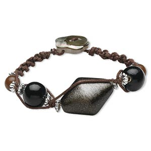 bracelet, black lip shell (dyed) / painted wood / cotton / acrylic, brown / black / silver with gold-colored glitter, 6-1/2 inches with button clasp. sold individually.