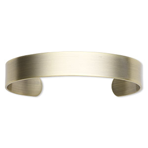 bracelet component, cuff, antique gold-plated steel, 1/2 inch wide, adjustable from 7-1/2 to 8 inches. sold individually.