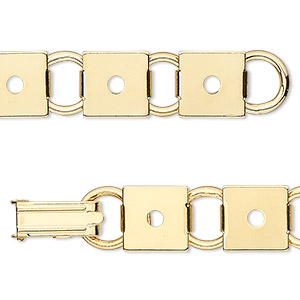 bracelet component, gold-plated steel, (12) 10mm square link settings, 7 inches with fold-over clasp. sold per pkg of 2.