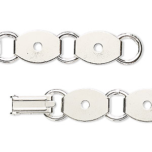 bracelet component, silver-plated steel, (10) 13x10mm oval link settings, 7 inches with fold-over clasp. sold per pkg of 2.