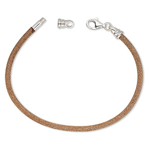 bracelet cord, dione, leather (natural) and sterling silver, 3mm round with twist-off end, 7-1/2 inches with lobster claw clasp. sold individually.