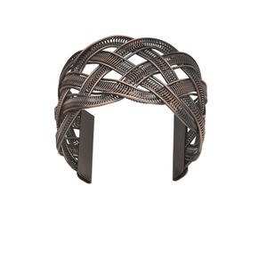 bracelet, cuff, antique copper-plated steel, 45mm wide with mesh weave design. sold individually.