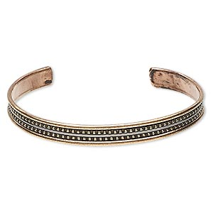 bracelet, cuff, brass / copper / steel, 8mm wide with beaded design, adjustable from 7-1/2 to 8 inches. sold individually.