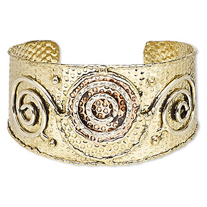 bracelet, cuff, copper-plated and gold-finished brass, 40mm wide with hammered / circle / spiral design, adjustable from 7-1/2 to 8-1/2 inches. sold individually.