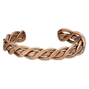 bracelet, cuff, copper-plated copper, 12mm wide with braided design, 8 inches. sold individually.