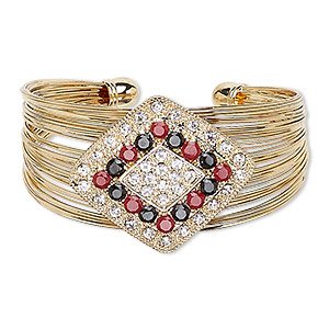bracelet, cuff, glass / egyptian glass rhinestone / gold-finished steel / pewter (zinc-based alloy), clear / red / black, 35mm wide with 40x35mm diamond, 6-1/2 inches. sold individually.