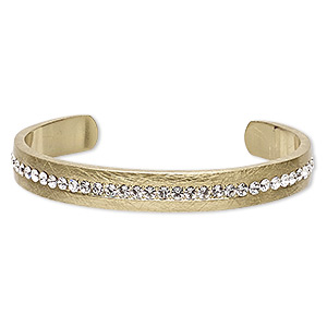 bracelet, cuff, glass rhinestone and gold-finished pewter (zinc-based alloy), clear, 9mm wide scratched band, 6-1/2 inches. sold individually.