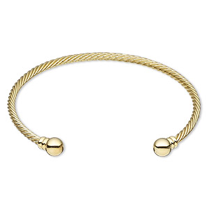 bracelet, cuff, gold-plated brass, 3.5mm twisted wire with 8mm threaded ball end, adjustable from 9 to 9-1/2 inches. sold individually.